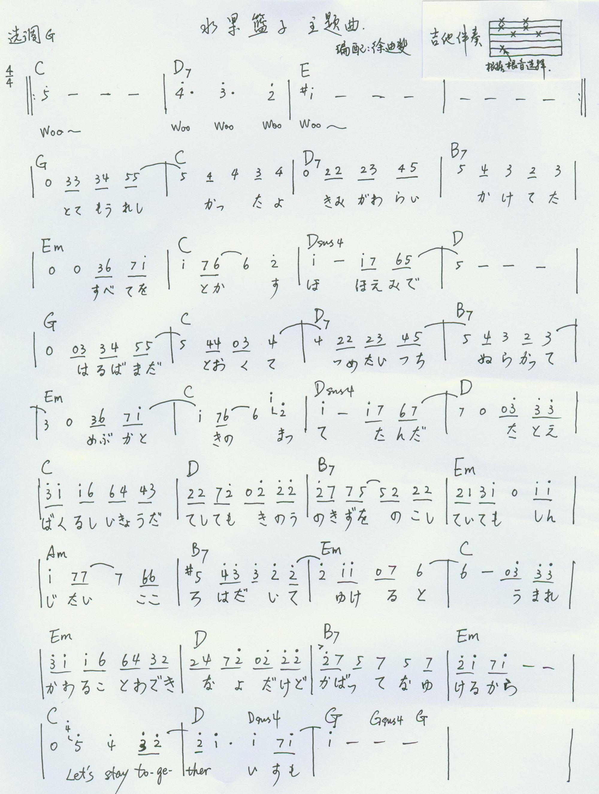 水果篮子 主题曲 吉他图片谱(ver 1.1)