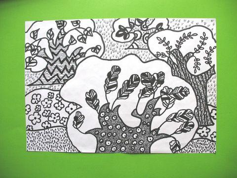 儿童和五彩缤纷的黑白画(二)