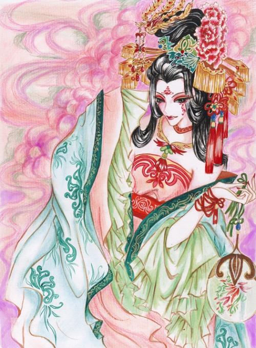 古装美女手绘彩铅_彩铅手绘日落风景