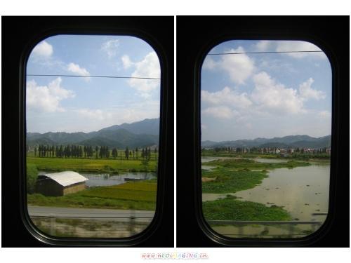 *上图:动车组的窗户很干净,透过窗户看到的景色像画一样.
