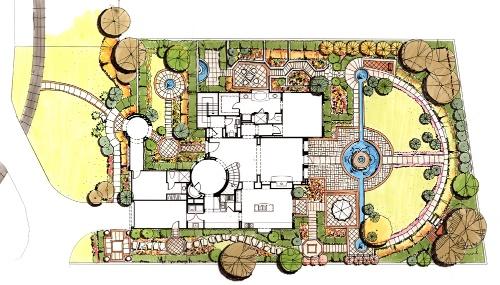 小庭院设计手绘平面图-小庭院设
