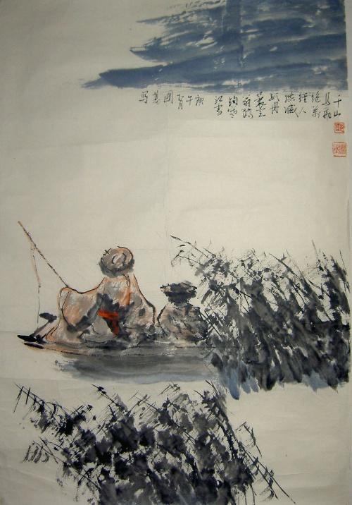 淡雅古风柳树水墨画