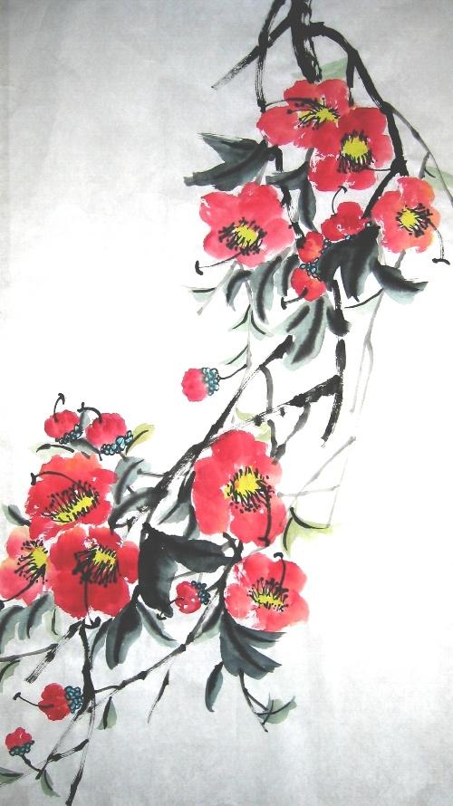 国画山茶花树叶的画法步骤
