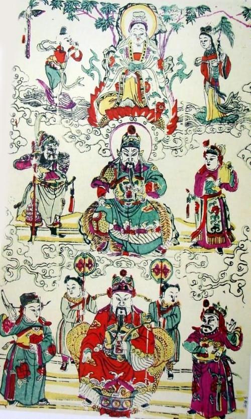 傳統的麒麟送子圖表現出桃花塢年畫精細秀雅的藝術圖片