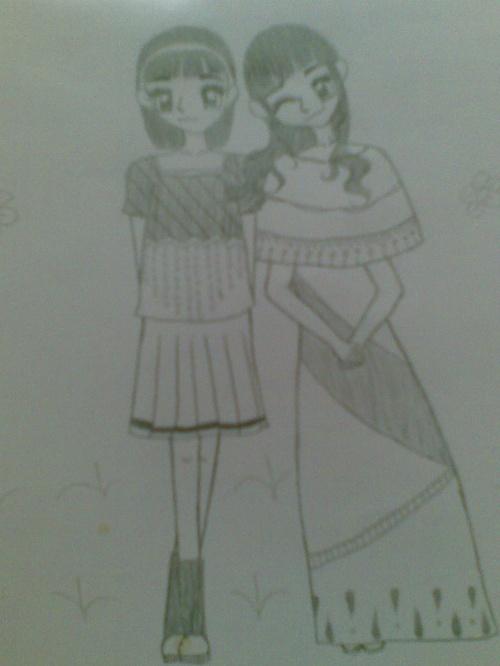 可爱两姐妹简笔画