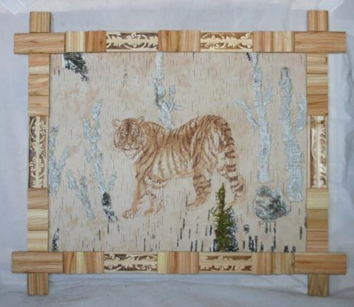 桦树皮画-----虎