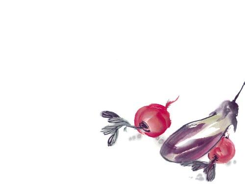 水墨画茄子步骤图