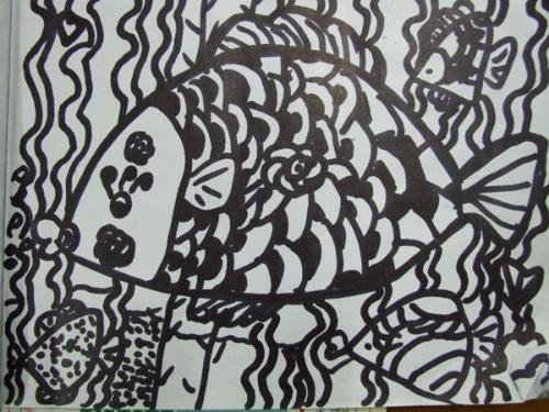 幼儿园线描画热带鱼