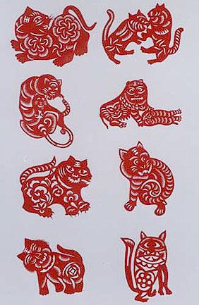 动物五折团花剪纸