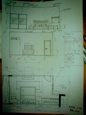 室内厨房成角透视设计图