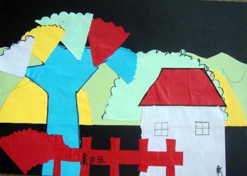用树叶做粘贴画房子