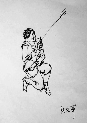 古代男子手绘红衣舞剑