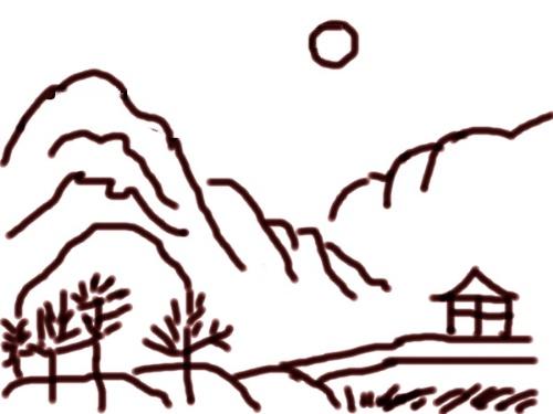 """《儿童简笔画大全》,用""""麦克笔""""画了一幅山水简笔画."""